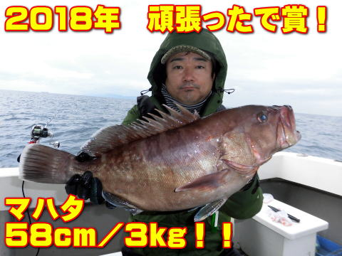 2018年 頑張ったで賞!       マハタ 58cm/3kg!!